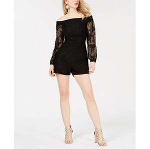 Guess Off-The-Shoulder Lace Sleeve Romper.